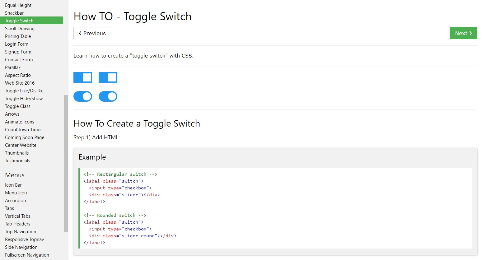 Tips on how to create Toggle Switch